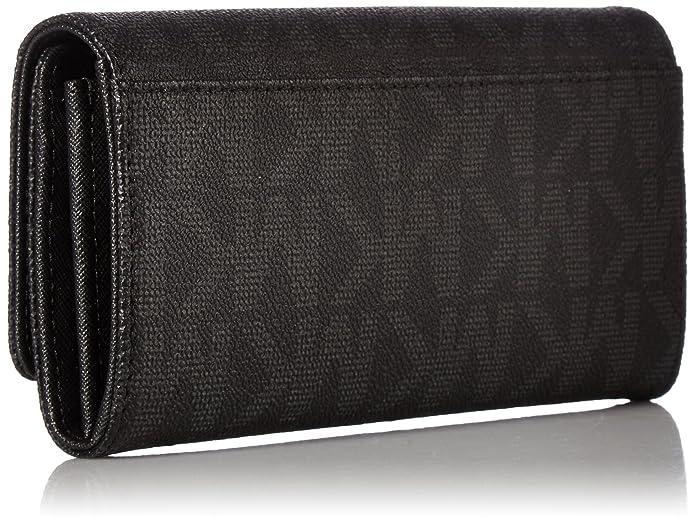 889692ce1940f0 Amazon.com: Michael Kors Fulton Flap Signature MK PVC Clutch Wallet Black:  Shoes