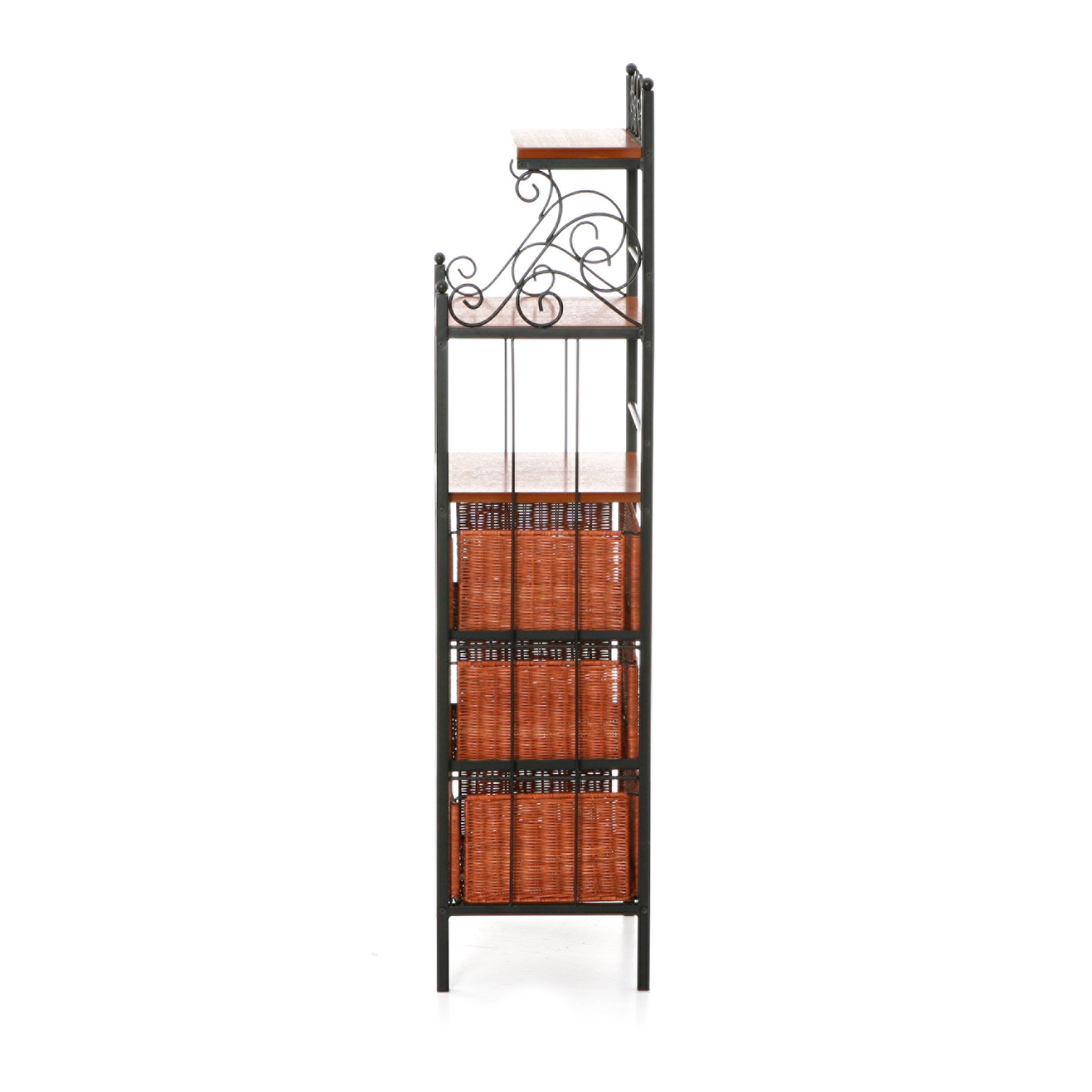 Harper Blvd Black Storage Shelves with Rattan Baskets by Harper Blvd