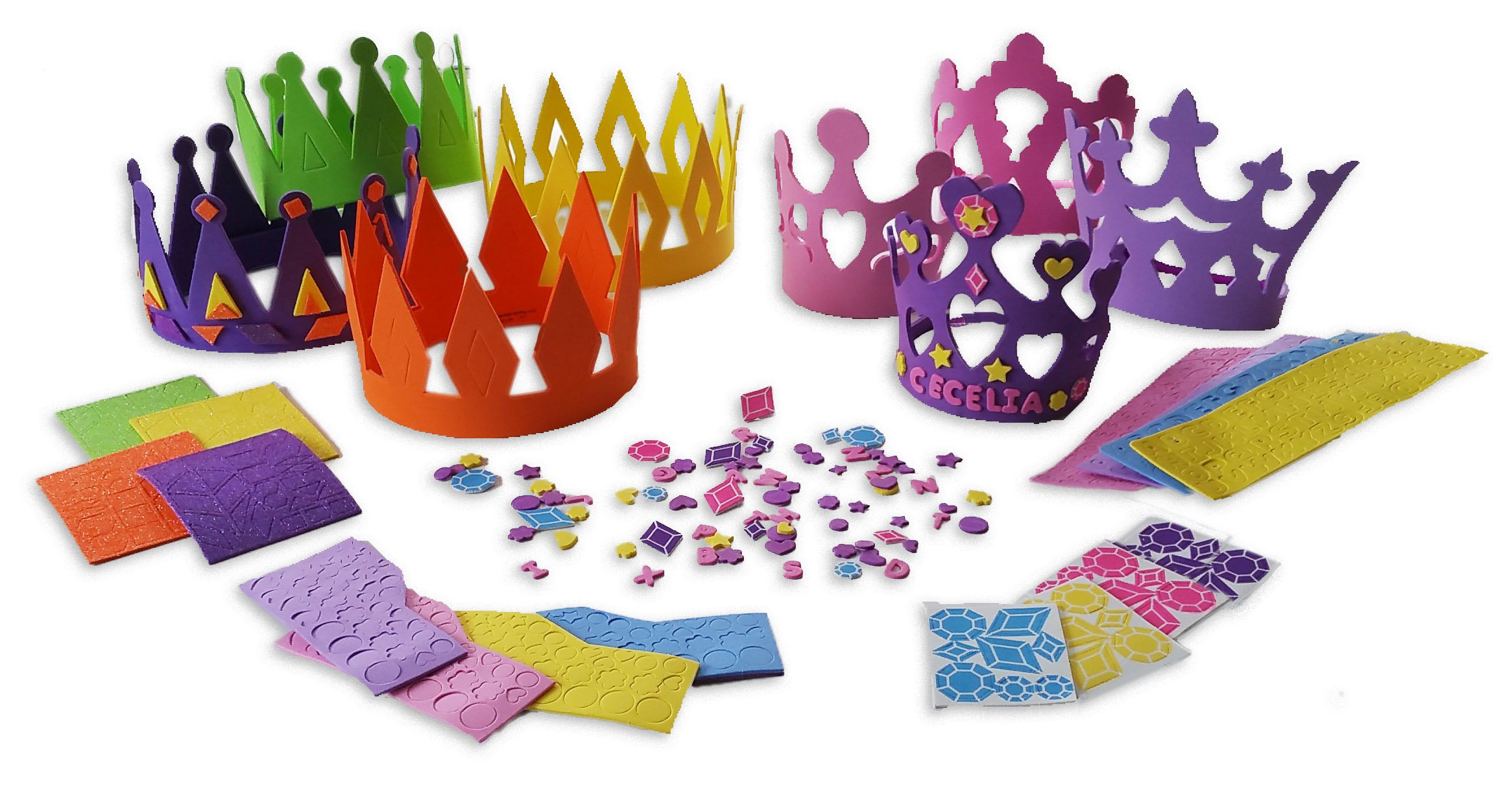 4 Princess Tiara Craft Kits + 4 Prince King Crown Foam Craft Kits - Great fun for kids birthday party