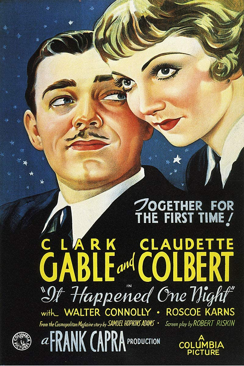 American Gift Services - It Happened One Night Vintage Clark Gable Claudette Colbert Movie Poster 1-18x24
