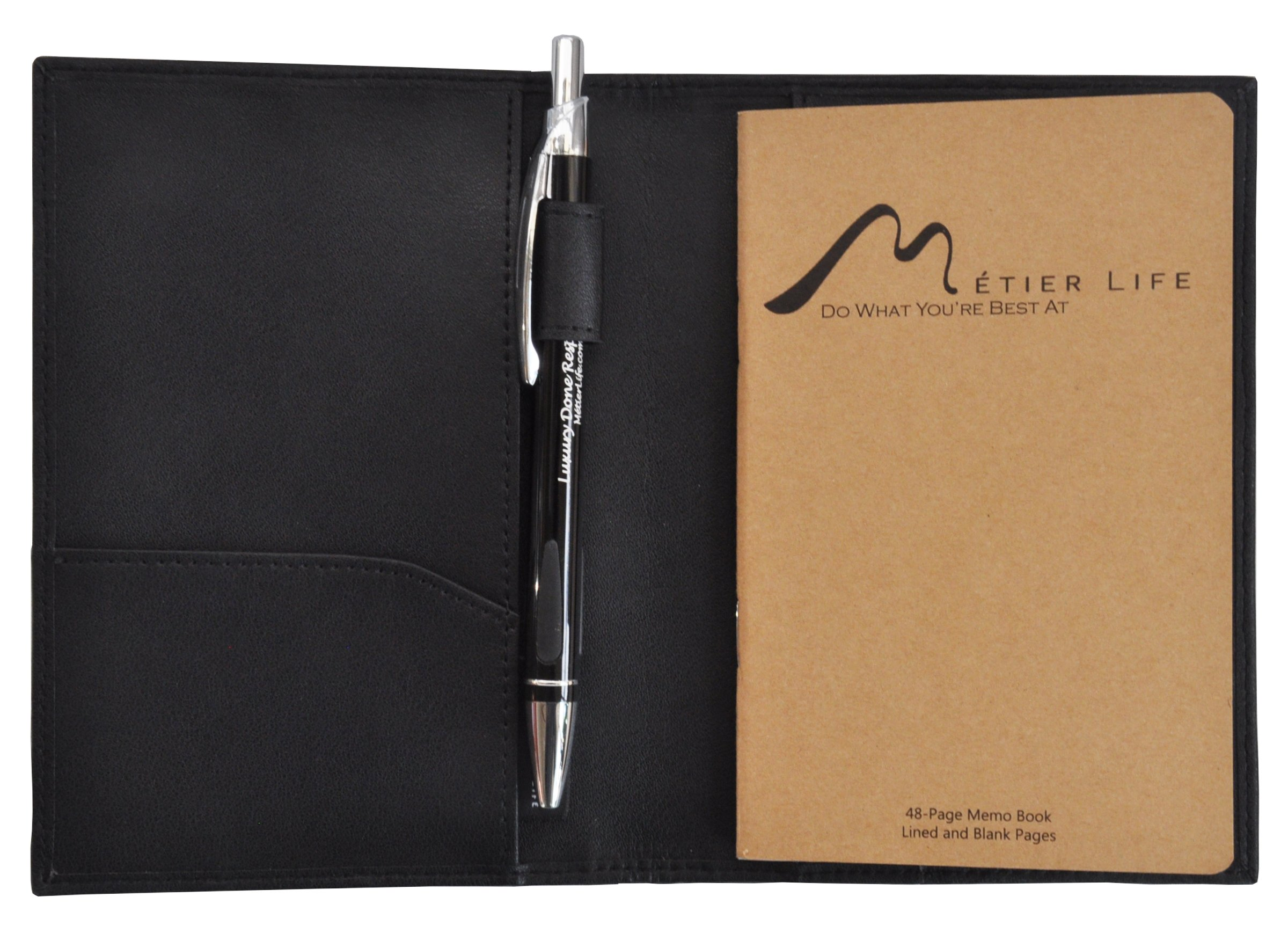 Field Notes/Moleskine Pocket Notebook Cover by Metier Life | Canvas with Vegan Leather | Fits Journals 3.5'' X 5.5'' | With Included Metier Life Notebook and Metier Pen (Vegan Leather Black) by Metier Life (Image #1)