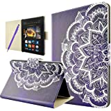 """Amazon Kindle Fire HDX 7 Case, Fraelc [Slim Fit] Premium Leatherette Wallet Stand Flip Case Cover with Magnetic Closure and Kickstand Function for Kindle Fire HDX 7"""" (3rd Generation - 2013 Release), Black Flower Design"""