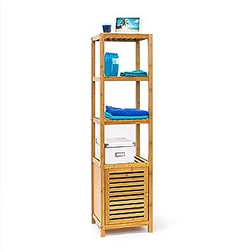 Relaxdays 10019205 Étagère salle de bain cuisine Porte refermable bois de  bambou 5 étages Plateaux Meuble rangement HxlxP 140 x 36,5 x 33 cm, ...