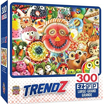 MasterPieces Trendz Funny Face Food Collage of Food Large EZ Grip Jigsaw Puzzle, 300-Piece: Toys & Games