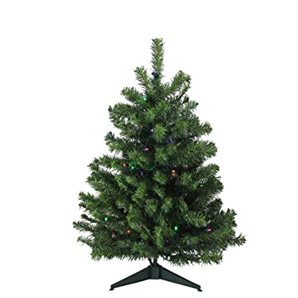 3 Pre Lit Led Canadian Pine Artificial Christmas Tree Multi Lights