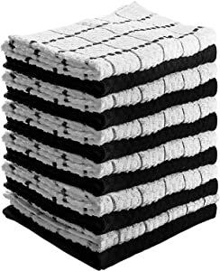 """Kitchen Towels 12 Pack - Dish Towels and Dish Cloths - Hand Towel and Dishcloths Sets - 100% Soft Ring Spun Combed Cotton - Great for Cooking in Kitchen or Household Cleaning - Size 15"""" x 25"""" (Black)"""