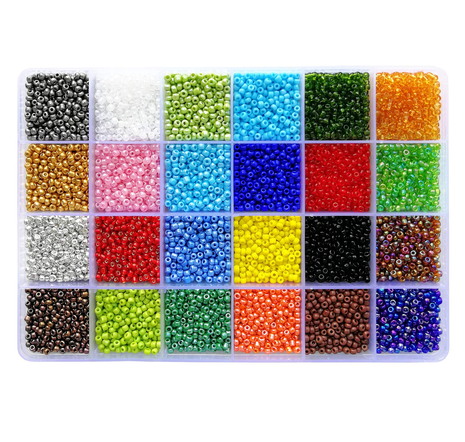 BALABEAD Seed Beads 15000pcs in Box Ceylon Beads 12/0 Glass Craft Beads Loose Spacer 2mm Seed Beads, Hole 0.6mm