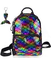 School Backpack for Girls Sequin Kids Elementary Bag Rainbow Flip Sequins Cute Preschool Backpack Lightweight Satchel