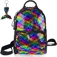 Sequin Backpack Reversible Flip Magic Glittering Shining Rainbow Mermaid School Travel Shoulder Bag with Key Chain…