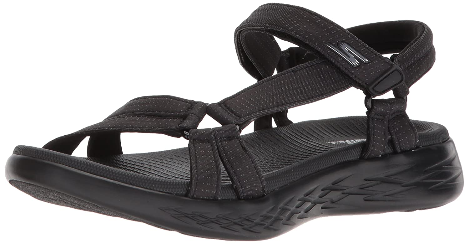 Skechers Women's on-The-Go 600-Brilliancy Sport Sandal B072T369KS 11 M US|Black