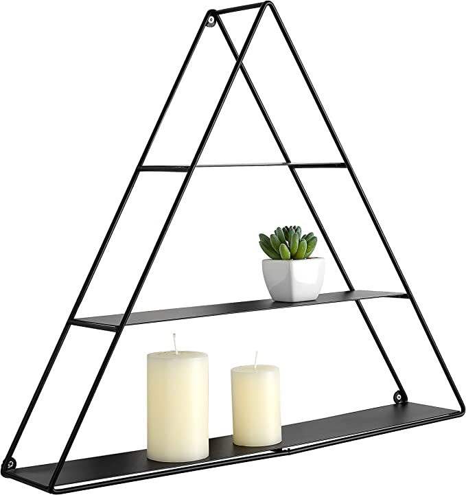 MyGift Triangular Matte Black Metal Display Shelf, Wall Mounted Pyramid