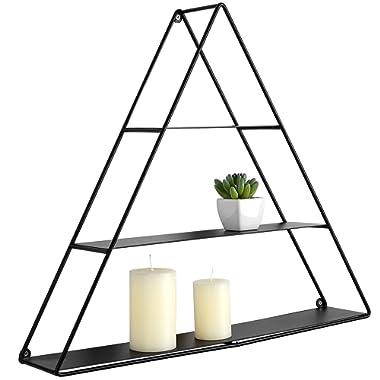 3 Tier Triangular Matte Black Metal Display Shelf, Wall Mounted Pyramid Rack