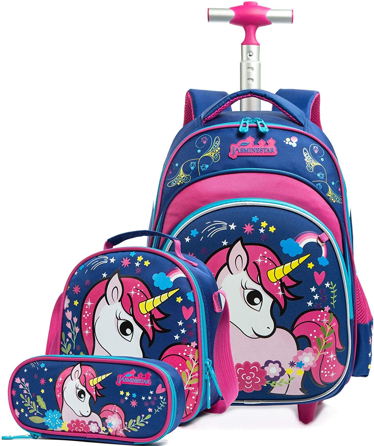 Deluxe Foldable Frozen Trolley Backpack Childrens Luggage Carry Bag