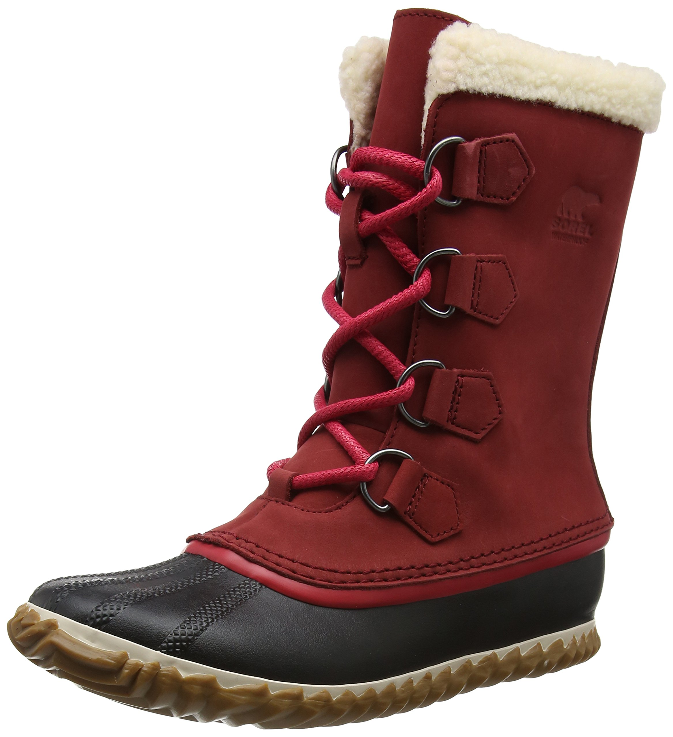 SOREL Womens Caribou Slim Snow Boot, Red Element, 8 B(M) US