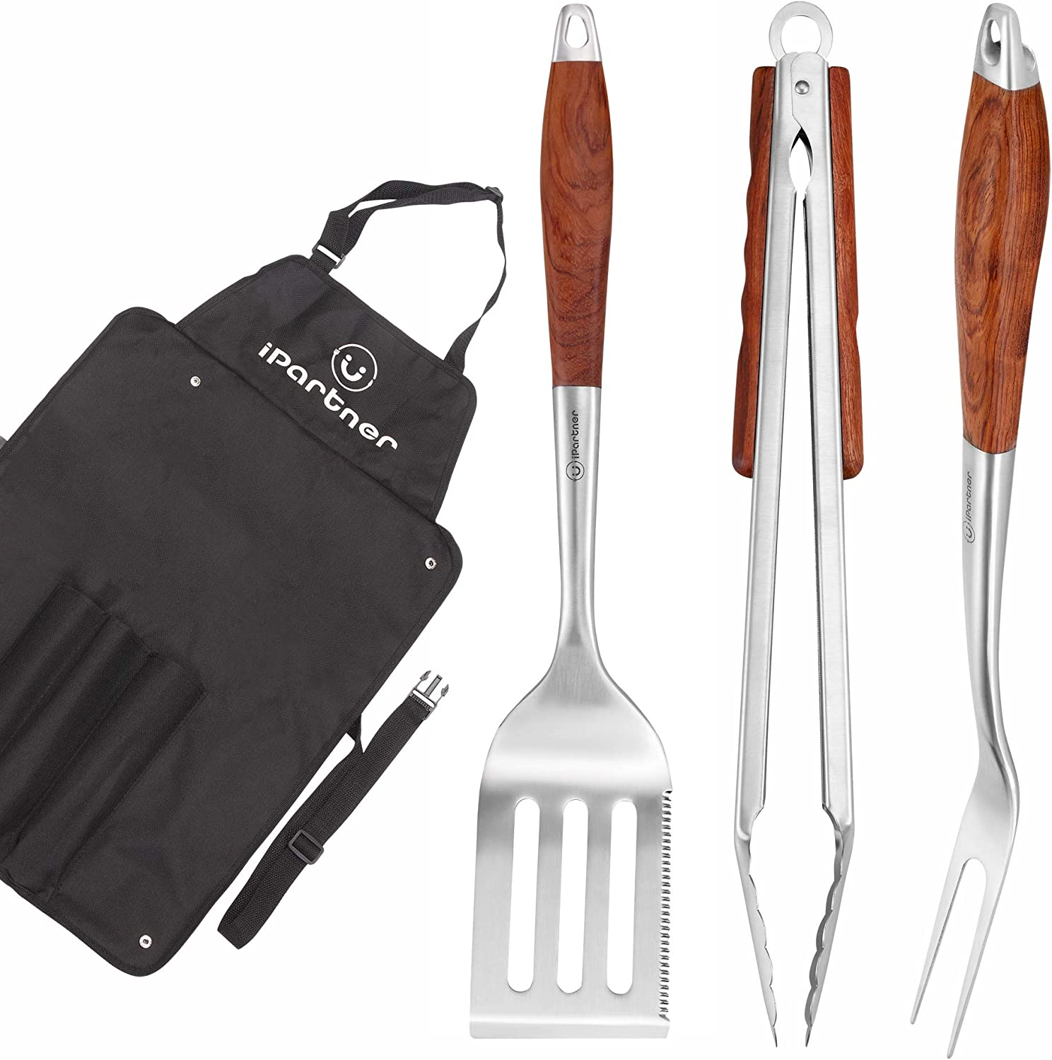 iPartner Heavy Duty BBQ Grilling Tool Set, 3pcs Real Thick Stainless Steel Barbecue Spatula, Tongs Fork with Long Rosewood Handle, W Apron Tote for Easy Use Storage, Premium Grill Accessories