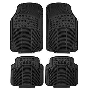 FH Group F11305BLACK Black All Weather Floor Mat, 4 Piece (Full Set Trimmable Heavy Duty)