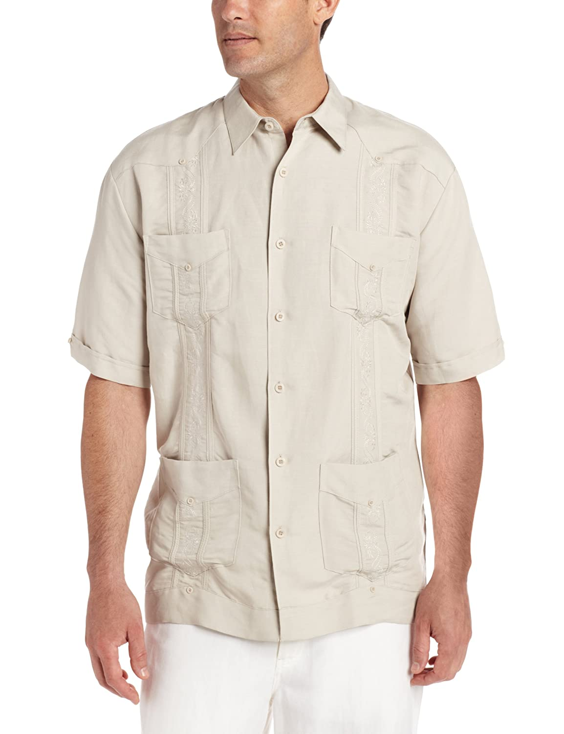 1930s Style Mens Shirts Big-Tall Short Sleeve Embroidered Ramie $39.95 AT vintagedancer.com