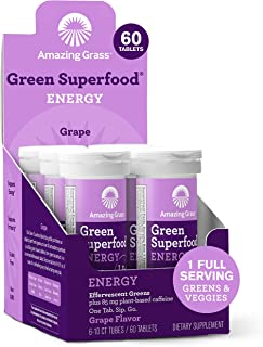product image for Amazing Grass Effervescent Energy Tablets: Greens + Green Tea Caffeine, Water Flavoring Tablet with Antioxidants, Grape, 60 Count