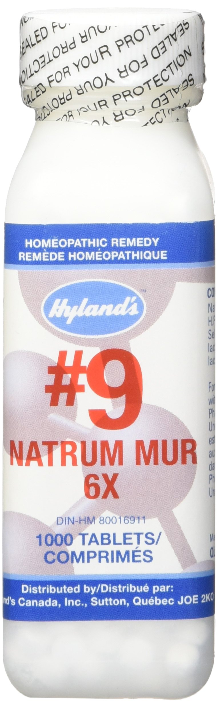 Hyland's Cell Salts #9 Natrum Muriaticum 6X Tablets, Natural Homeopathic Relief of Headache & Indigestion, 1000 Count