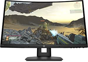 HP X24c Gaming Monitor   1500R Curved Gaming Monitor in FHD Resolution with 144Hz Refresh Rate and AMD FreeSync Premium   (9EK40AA) Black