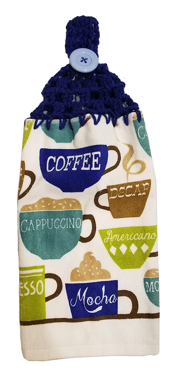 Handcrafted Blue Crochet Topped Coffee Cups Kitchen Towel