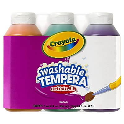 Crayola; Arista II Washable Tempera Paint; Secondary Colors (Orange, Green, Violet), Art Tools; 3 ct 8-OZ Bottles; Great for Classroom Projects: Toys & Games