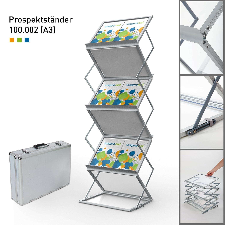 mit Transportkoffer Faltbarer Prospektst/änder DIN A3 Querformat ✓ Katalogst/änder ✓ Prospekthalter 100.002 ✓ Flyerhalter