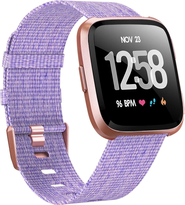 Ersatzb/änder aus Tissu en Nylon tiss/é Cuir R/églable Bracelet De Rechange pour Fitbit Versa 3//Fitbit Sense MAKACTUA pour Bracelet Fitbit Versa 3//Fitbit Sense Bracelet Femme Homme