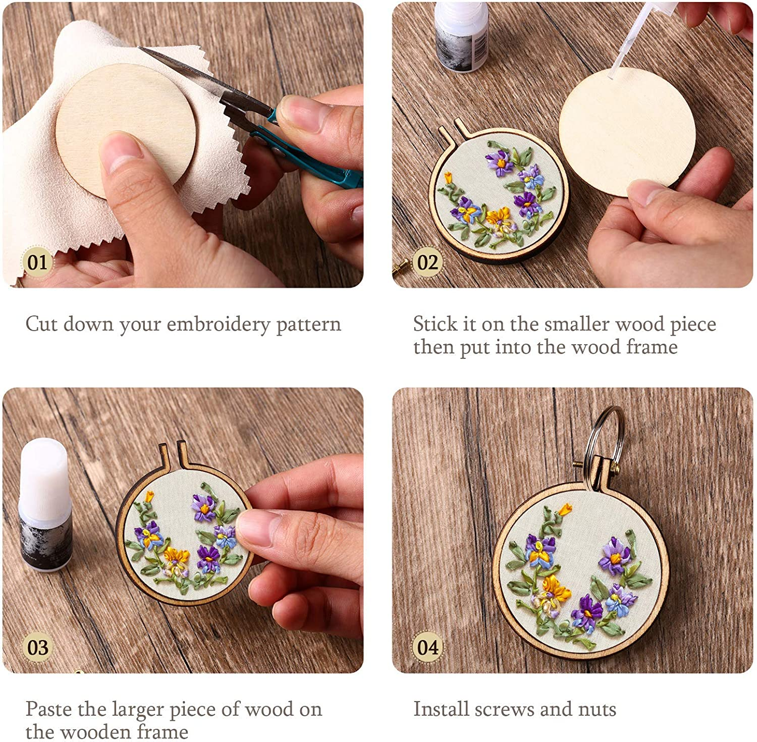 Oval Vertical 16 Sets Mini Embroidery Hoop Wooden Mini Crossing Stitch Hoop Mini Ring Embroidery Circle for DIY Pendant Crafts Oval Horizontal Round