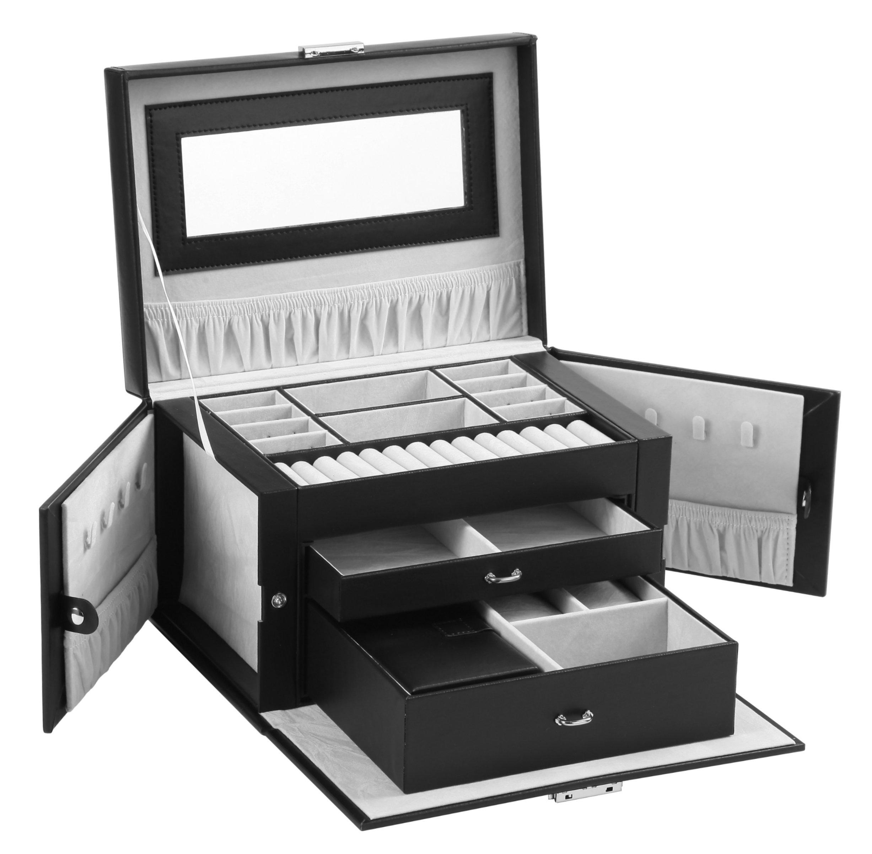 Sodynee Pu Leather Jewelry Box Organizer Display Storage Case with Lock