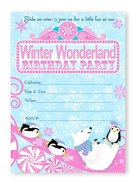 amazon com winter wonderland invitations pink 10 invitations 10