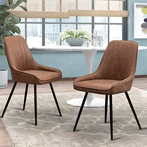 Alunaune Modern Dining Chairs Set of 2 Upholstered Accent Chair Mid Century Armless Leisure Chair Kitchen Living Room Faux Leather Desk Side Chair
