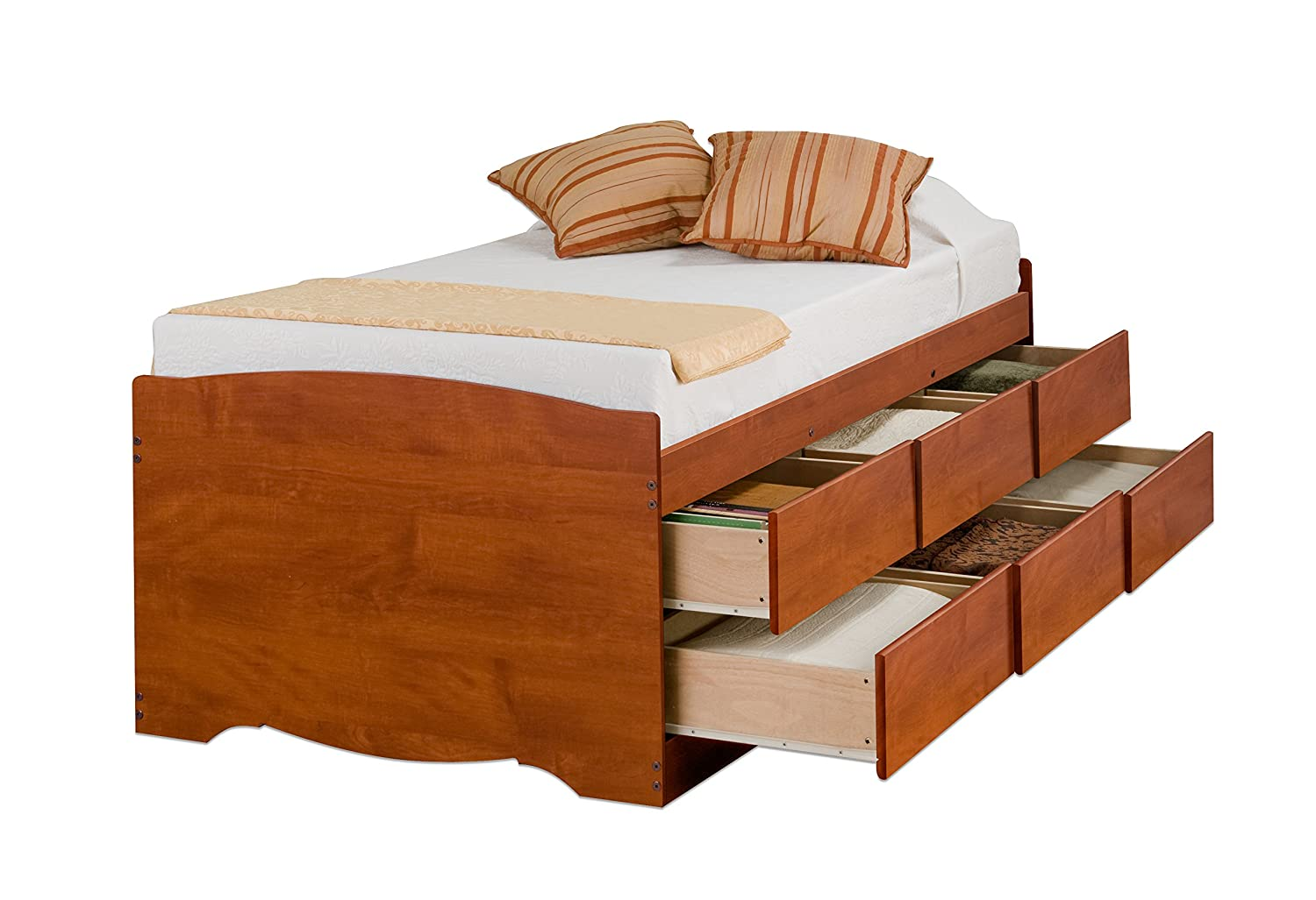 Tall bed frame twin - Amazon Com Cherry Tall Twin Captain S Platform Storage Bed With 6 Drawers Kitchen Dining