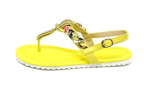 2b759e390402d SHS18   Sandales Plates Nu-Pieds avec Chaîne Foulard, Bandes Strass et Semelle  Blanche - Mode Femme (36, Jaune)  Amazon.fr  Chaussures et Sacs