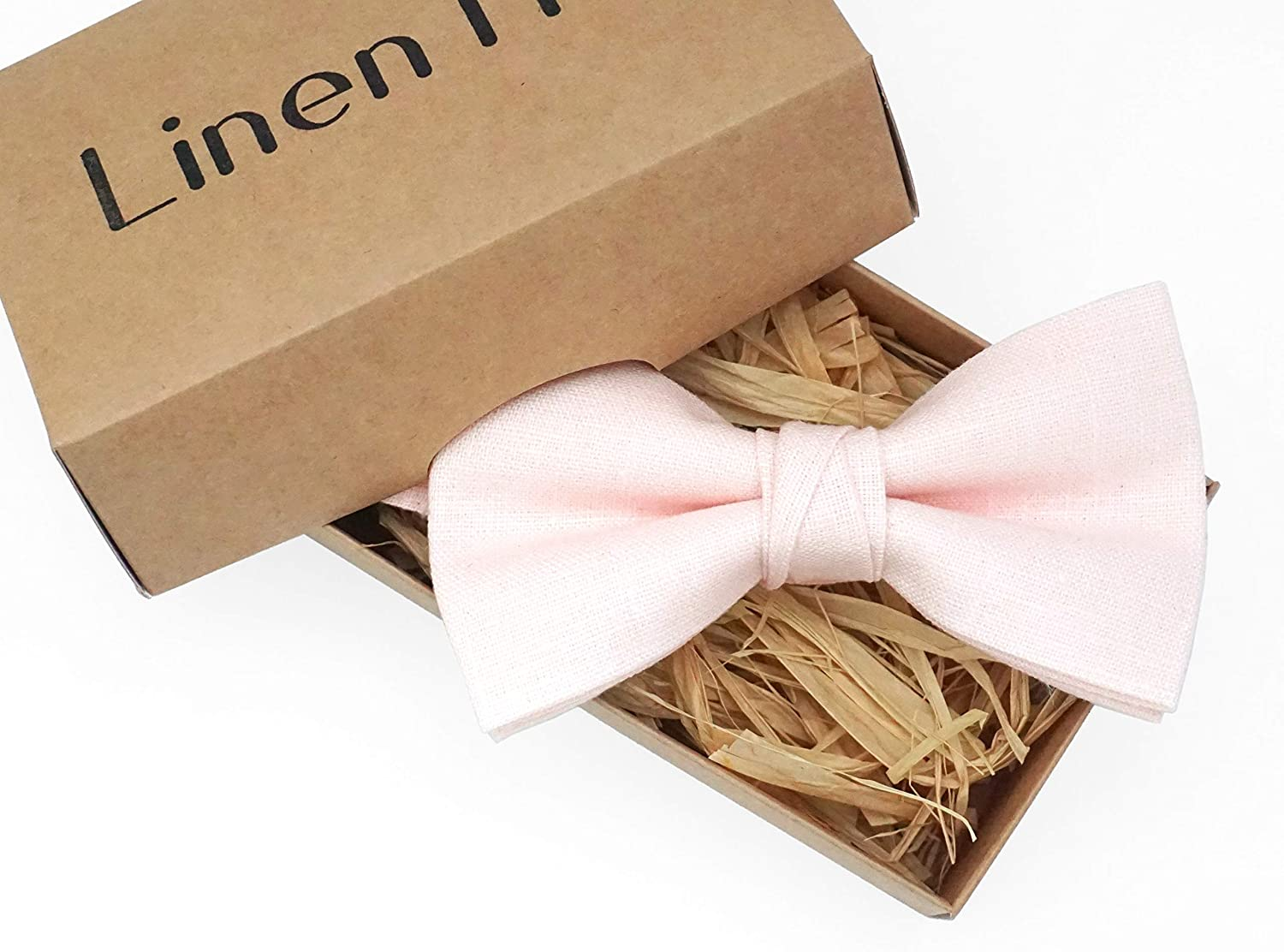 boho wedding ideas blush pale pink pretied bow ties for men and toddler boys Blush pink pre-tied handmade wedding bow tie for groomsmen made from eco-friendly linen