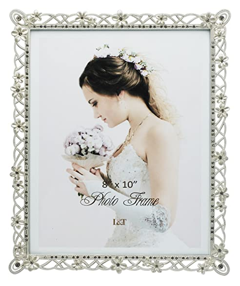 Amazon.com - L&T Wedding Picture Frame Silver Metal with White ...