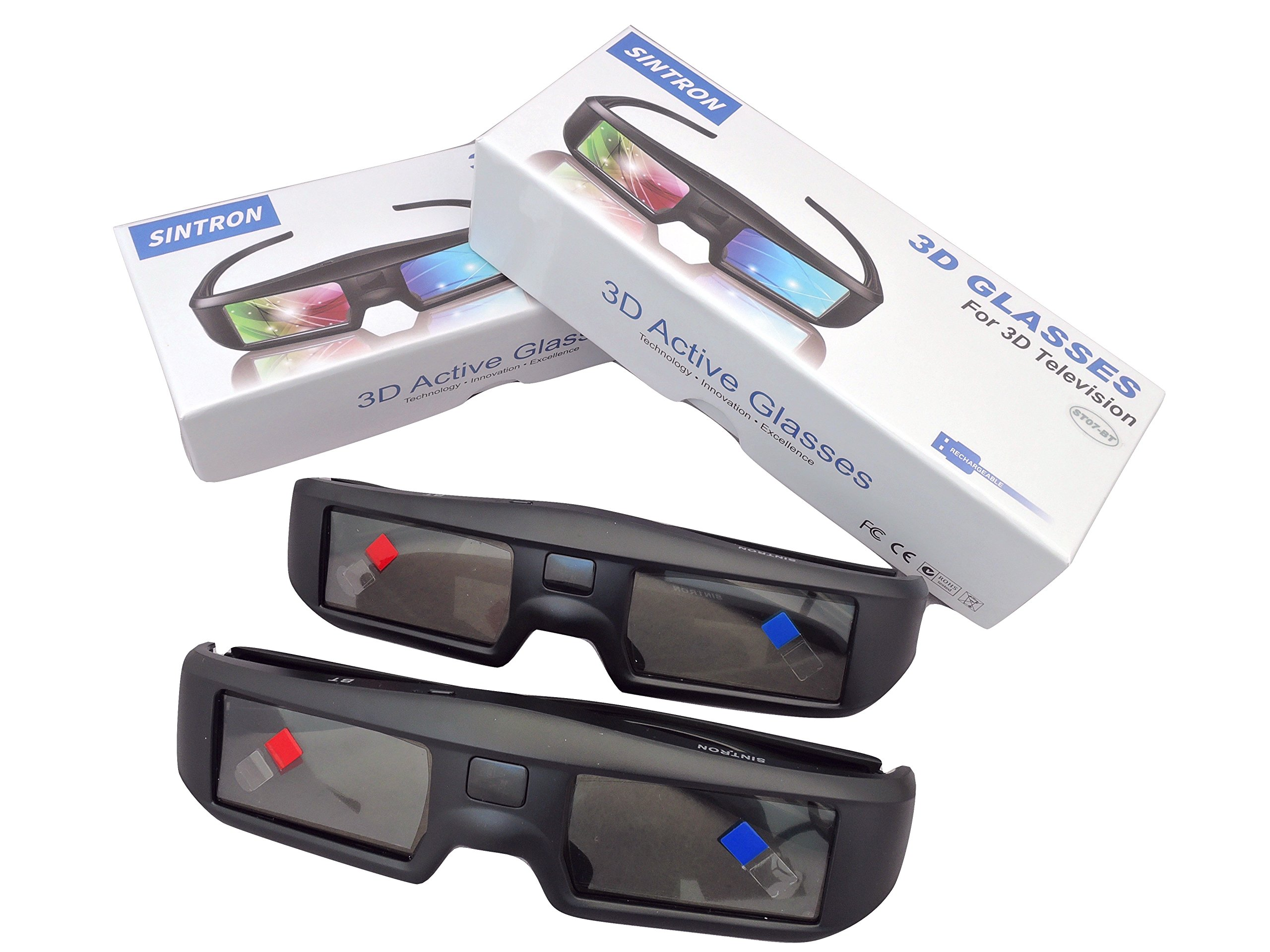 2X 3D Active Shutter Glasses Rechargeable - Sintron ST07-BT for RF 3D TV, 3D Glasses for Sony, Panasonic, Samsung 3D TV, Epson 3D projector, Compatible with TDG-BT500A TDG-BT400A TY-ER3D5MA TY-ER3D4MA by Sintron (Image #2)