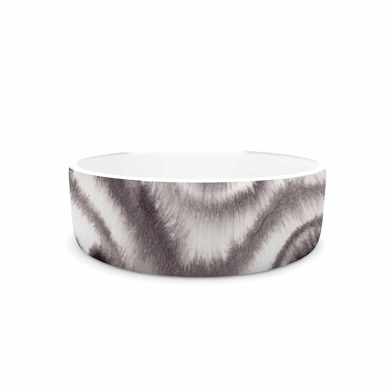 KESS InHouse Danii Pollehn bluerr Lines White Black Painting Pet Bowl, 7  Diameter