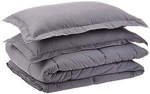 AmazonBasics Down-Alternative Comforter Set with Shams - Grey, Full/Queen