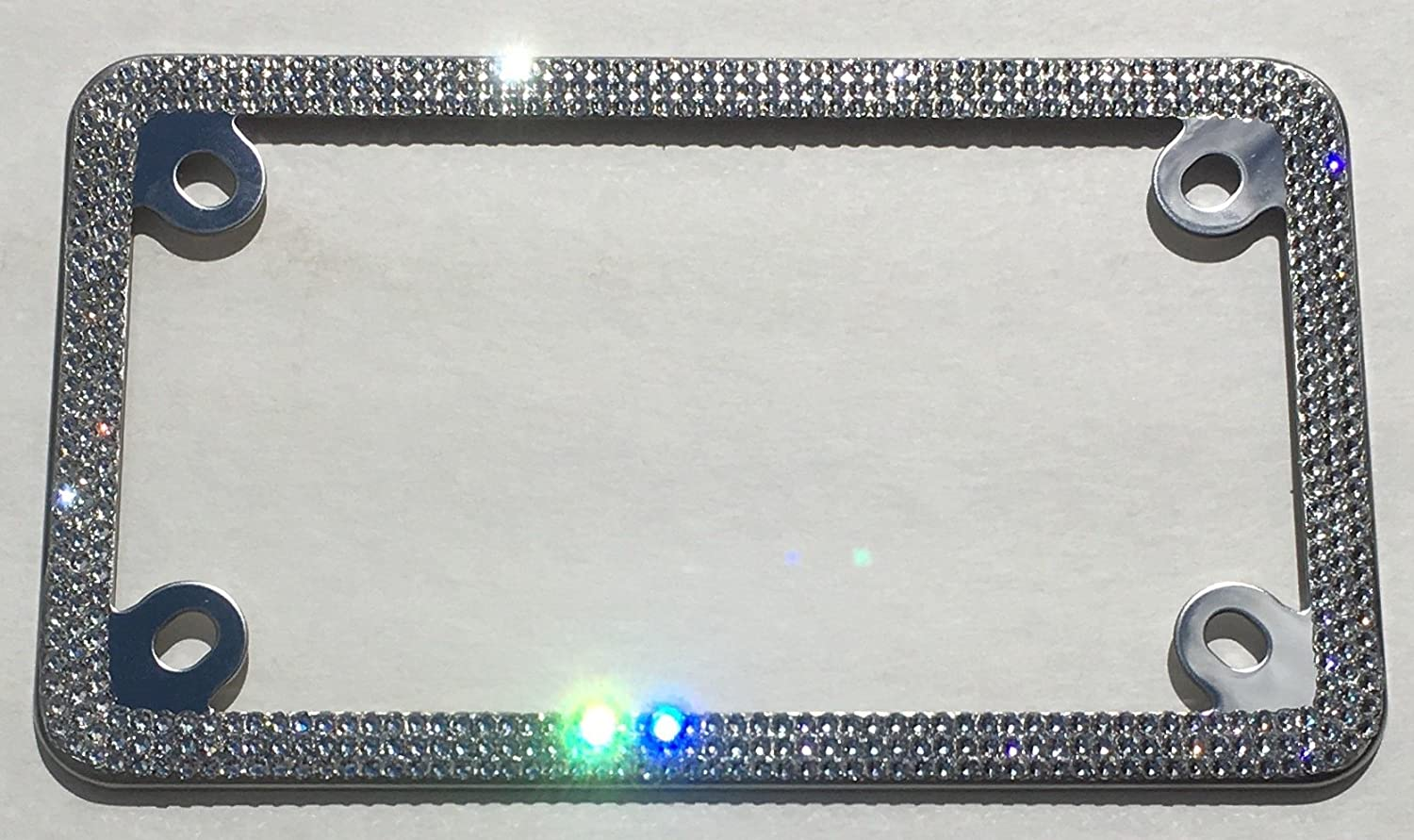 Clear Crystal /& Black MOTORCYCLE Rhinestone Diamond Bling License Plate Frame