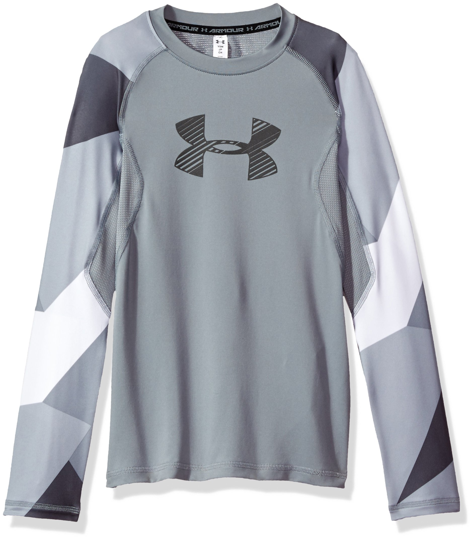 Under Armour Boys' HeatGear Armour Printed Long Sleeve,Steel (035)/Graphite, Youth Small