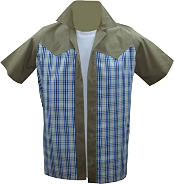 Rockabilly Fashions - Camisa casual - Cuadrados - para hombre Beige, White, Blue XX-Large: Amazon.es: Ropa y accesorios