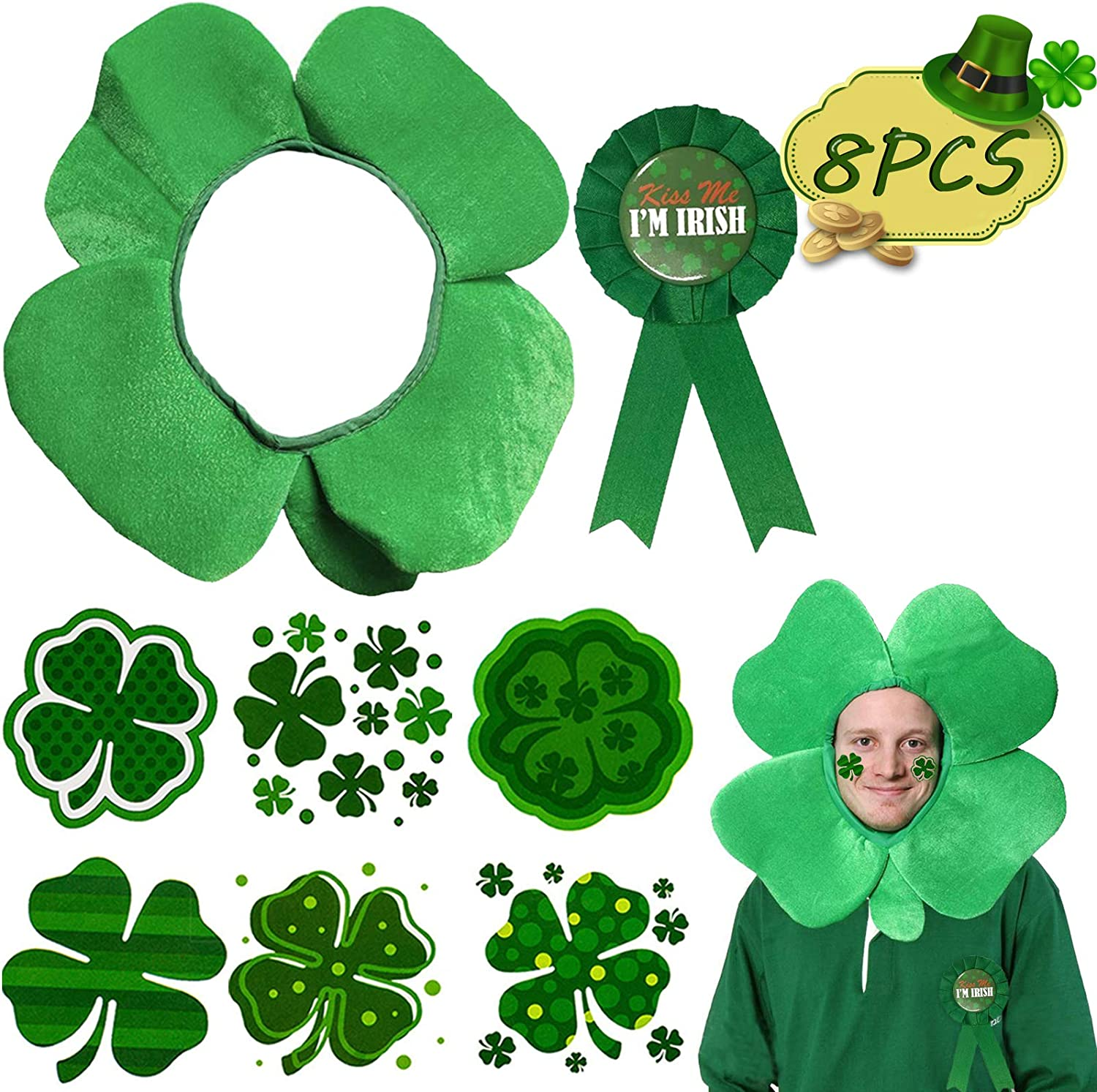 St. Patrick's Day Accessories, Funny Hats Button Pins Badges Clover Temporary Tattoos for Women Men Toddlers, Saint Irish Themed Decorations Costumes Party Favors Supplies