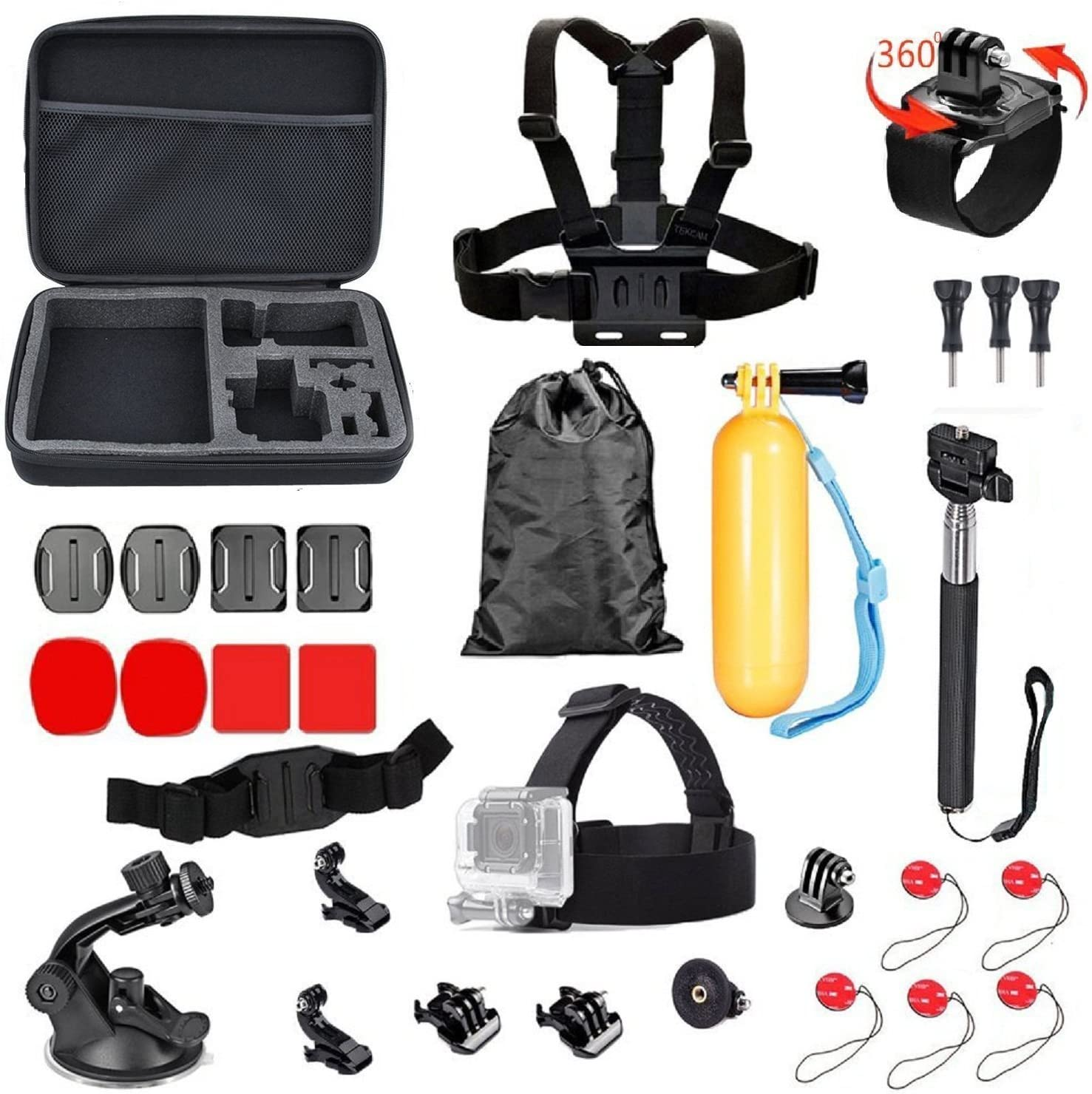 TEKCAM Sport Accessory Kit Compatible with Gopro Hero 7 6 DBPOWER Vtin 4K AKASO V50 EK7000 Campark 4k Action Camera in Swimming Rowing Skiing Climbing Bike Riding Camping Diving Outdoor Sports