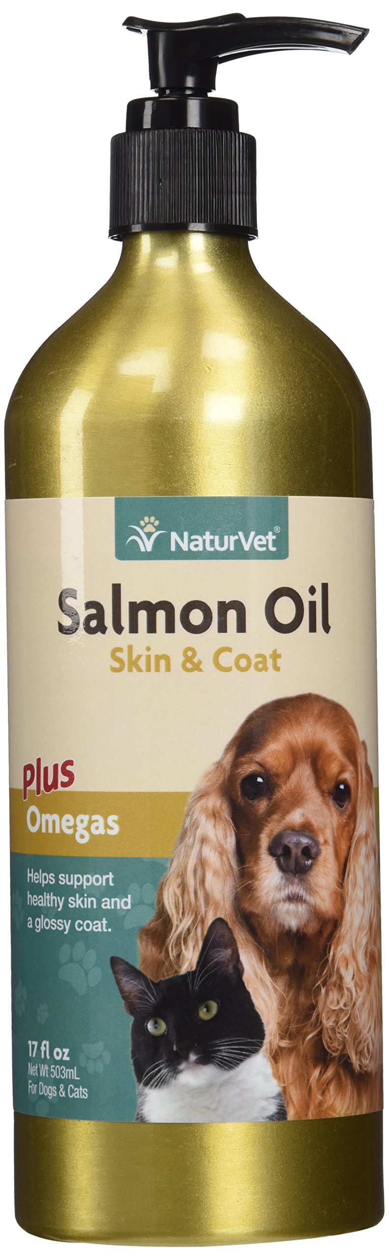 NaturVet 978181 Salmon Oil Unscented for Dog and Cat, 17 oz