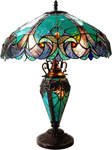 Chloe Lighting CH18780VG18-DT3 Liaison Tiffany-Style Victorian 3 Light Double Lit Table Lamp with Shade, 24.5 x 18 x 18 , Multicolor
