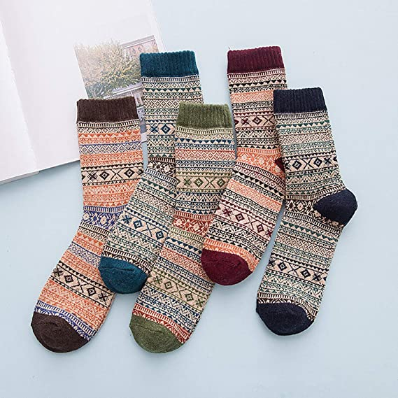 Amazon.com: Winter Thick Warm Stripe Wool Socks Casual Calcetines Hombre Sock,01: Clothing