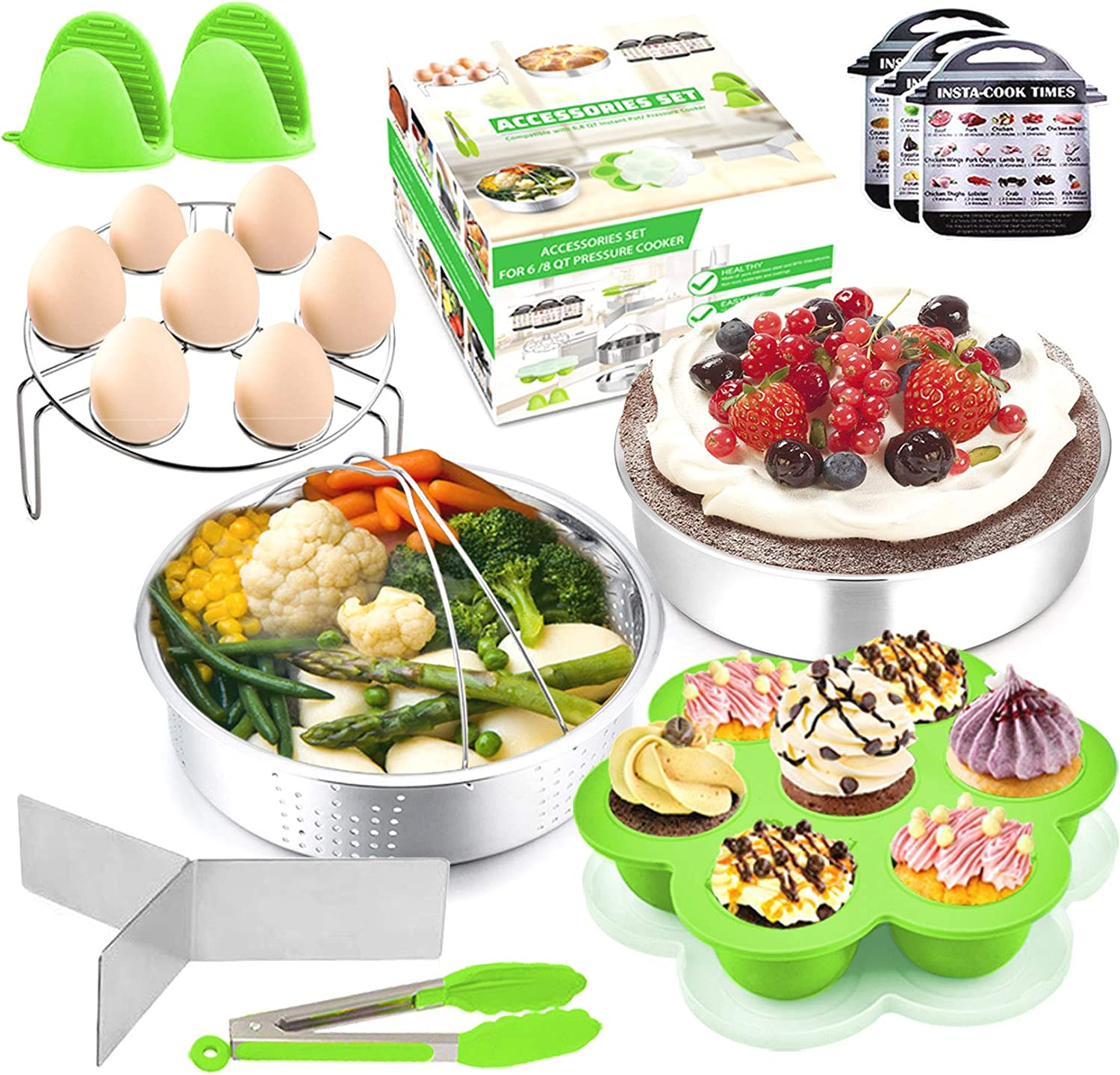 Pressure Cooker Accessories, P&P CHEF 12 Pcs Green Steamer Accessory Set For 6 / 8 Qt - Steamer Basket, Cake Pan, Egg Rack, Egg Bites Mold with Lid, Kitchen Tong, Oven Mitts, Magnetic Cheat Sheets