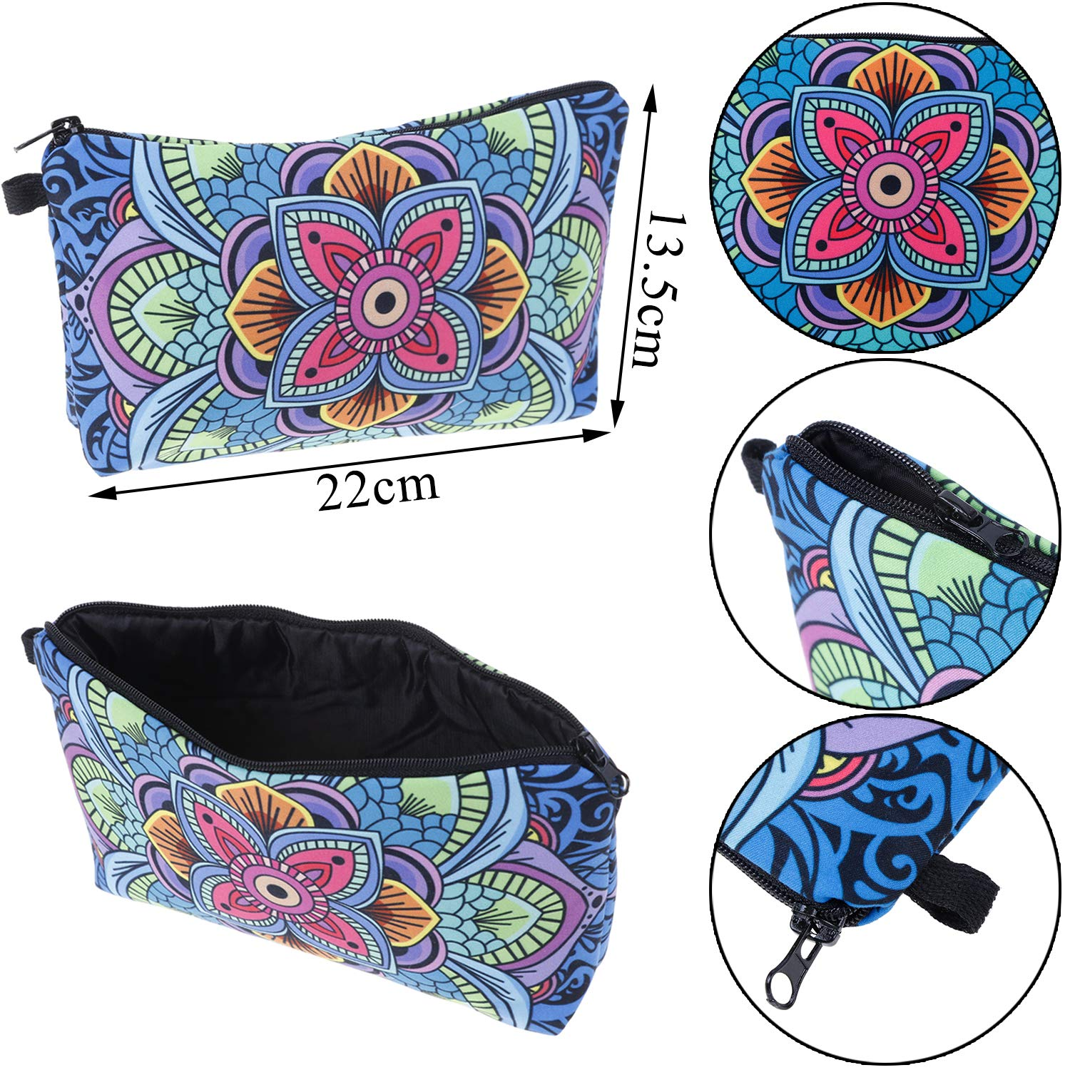6 Pcs Makeup Bag Cosmetic Bag Toiletry Pouch Waterproof Travel Makeup Bag with Mandala Flowers Patterns,Black Zippers 6 Styles