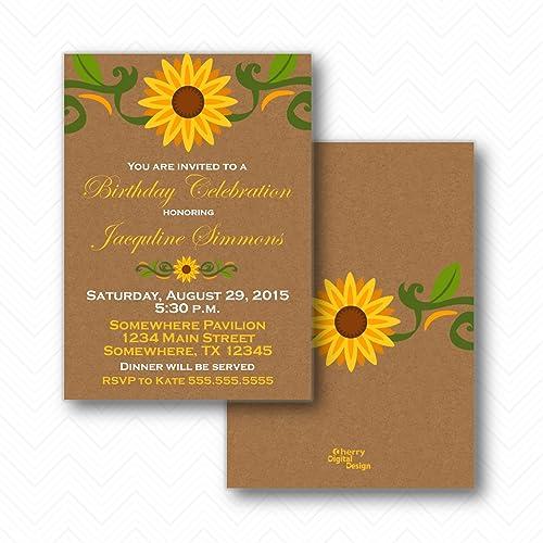 amazon com sunflower birthday party celebration invitations
